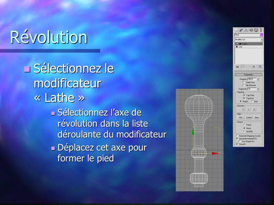 Révolution Sélectionnez le modificateur « Lathe » Sélectionnez le modificateur « Lathe » Sélectionnez laxe de révolution dans la liste déroulante du modificateur Sélectionnez laxe de révolution dans la liste déroulante du modificateur Déplacez cet axe pour former le pied Déplacez cet axe pour former le pied