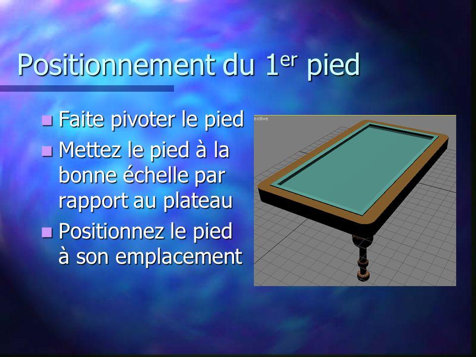 Positionnement du 1 er pied Faite pivoter le pied Faite pivoter le pied Mettez le pied à la bonne échelle par rapport au plateau Mettez le pied à la bonne échelle par rapport au plateau Positionnez le pied à son emplacement Positionnez le pied à son emplacement