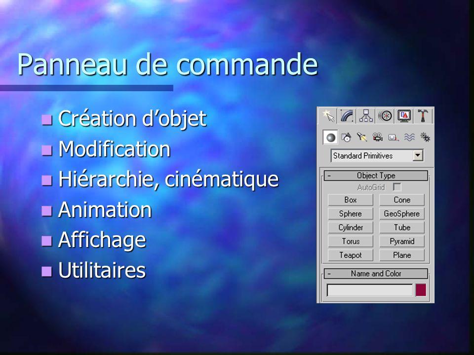 Panneau de commande Création dobjet Création dobjet Modification Modification Hiérarchie, cinématique Hiérarchie, cinématique Animation Animation Affichage Affichage Utilitaires Utilitaires