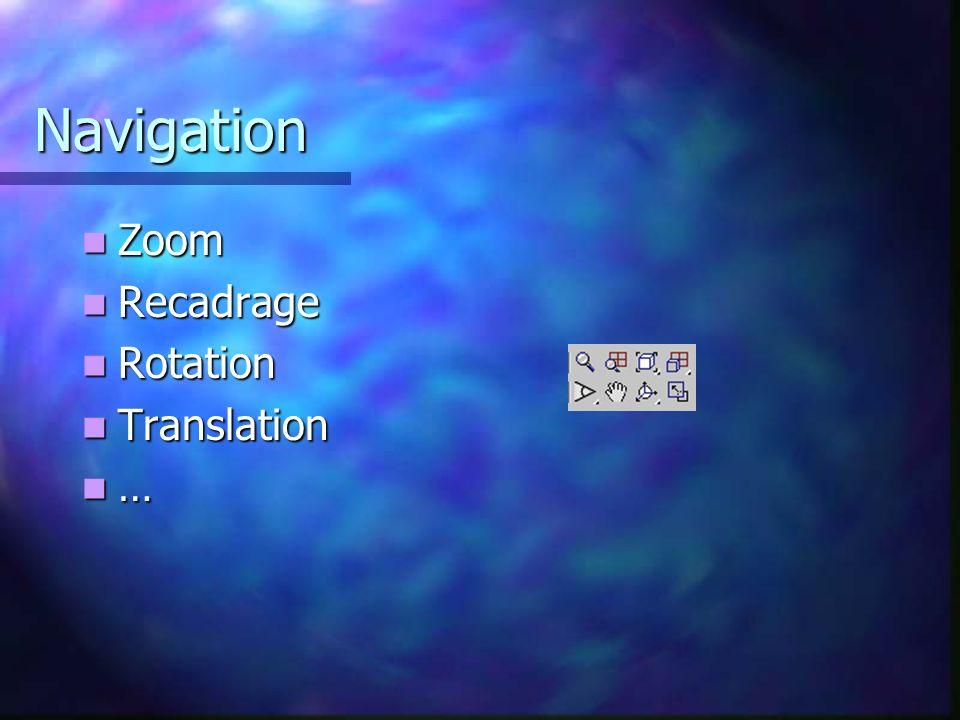 Navigation Zoom Zoom Recadrage Recadrage Rotation Rotation Translation Translation …