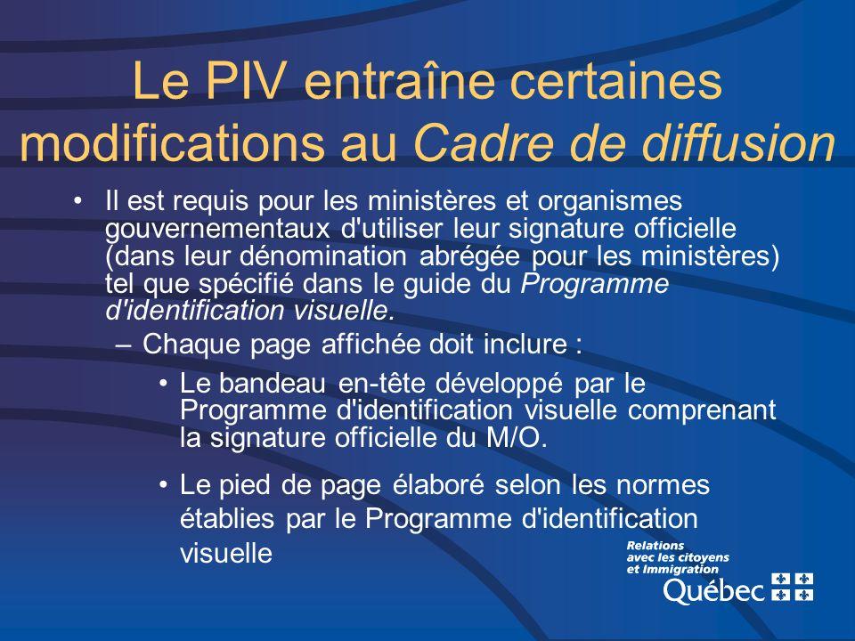 Le PIV entraîne certaines modifications au Cadre de diffusion Il est requis pour les ministères et organismes gouvernementaux d'utiliser leur signatur