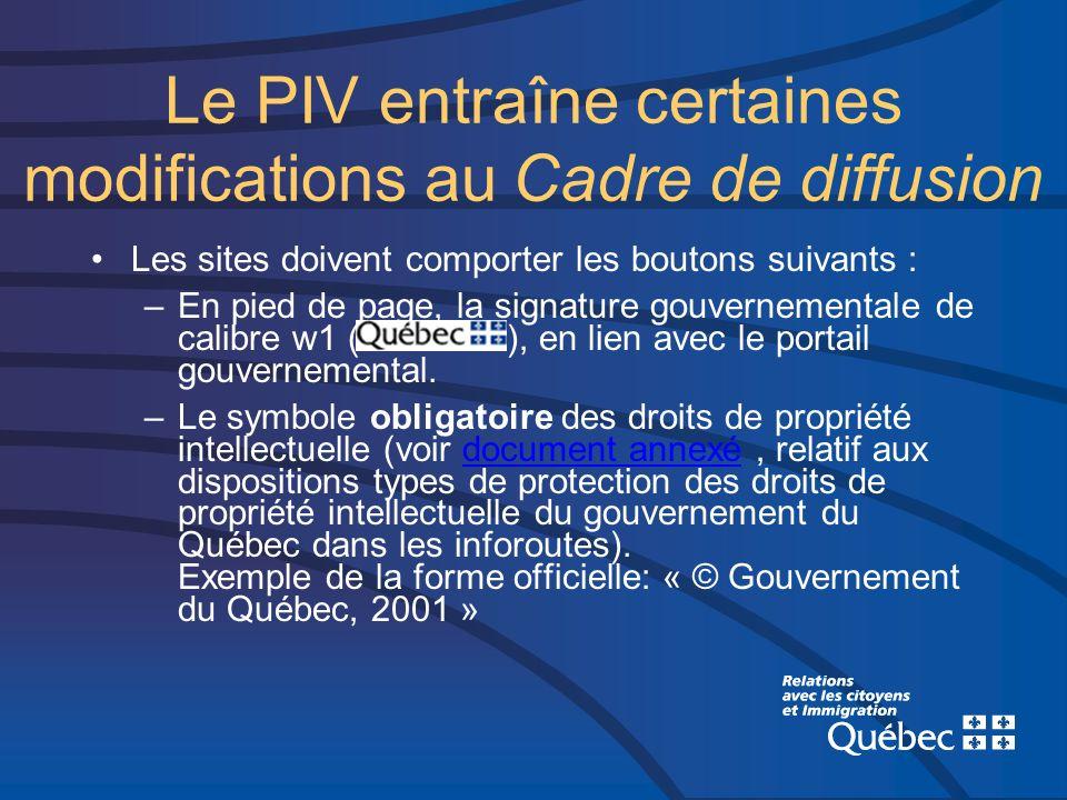 Le PIV entraîne certaines modifications au Cadre de diffusion Les sites doivent comporter les boutons suivants : –En pied de page, la signature gouvernementale de calibre w1 ( ), en lien avec le portail gouvernemental.