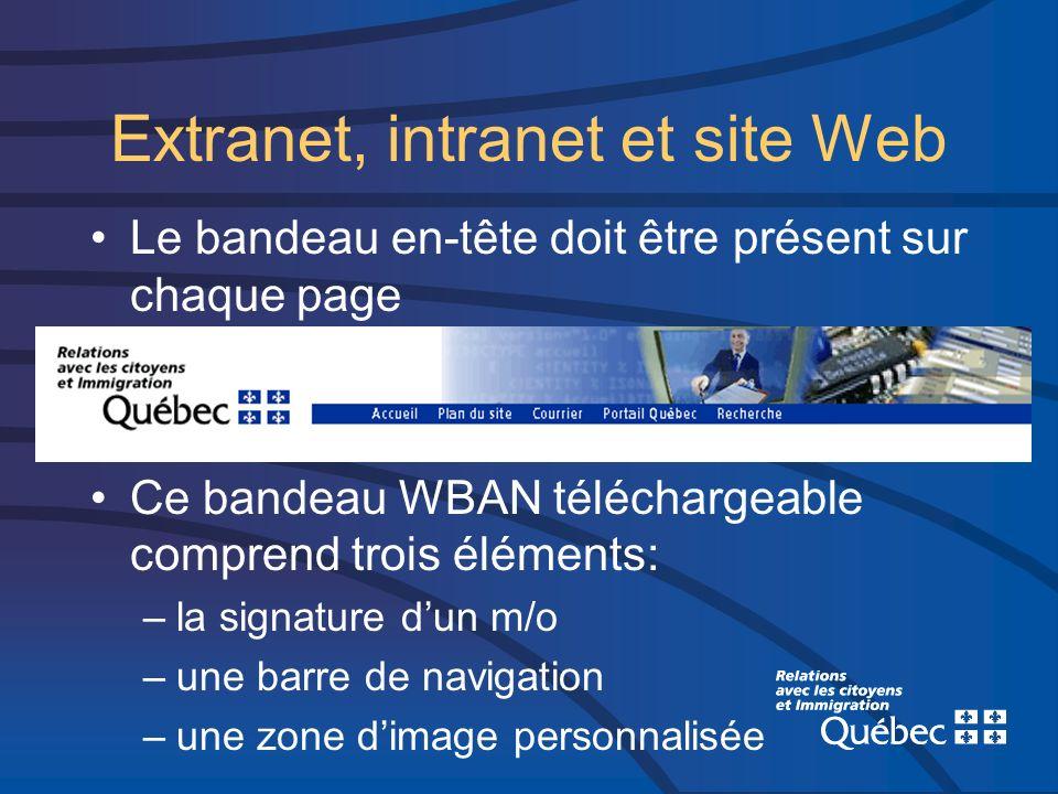 Extranet, intranet et site Web Le bandeau en-tête doit être présent sur chaque page Ce bandeau WBAN téléchargeable comprend trois éléments: –la signature dun m/o –une barre de navigation –une zone dimage personnalisée