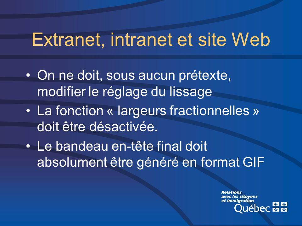 Extranet, intranet et site Web On ne doit, sous aucun prétexte, modifier le réglage du lissage La fonction « largeurs fractionnelles » doit être désac