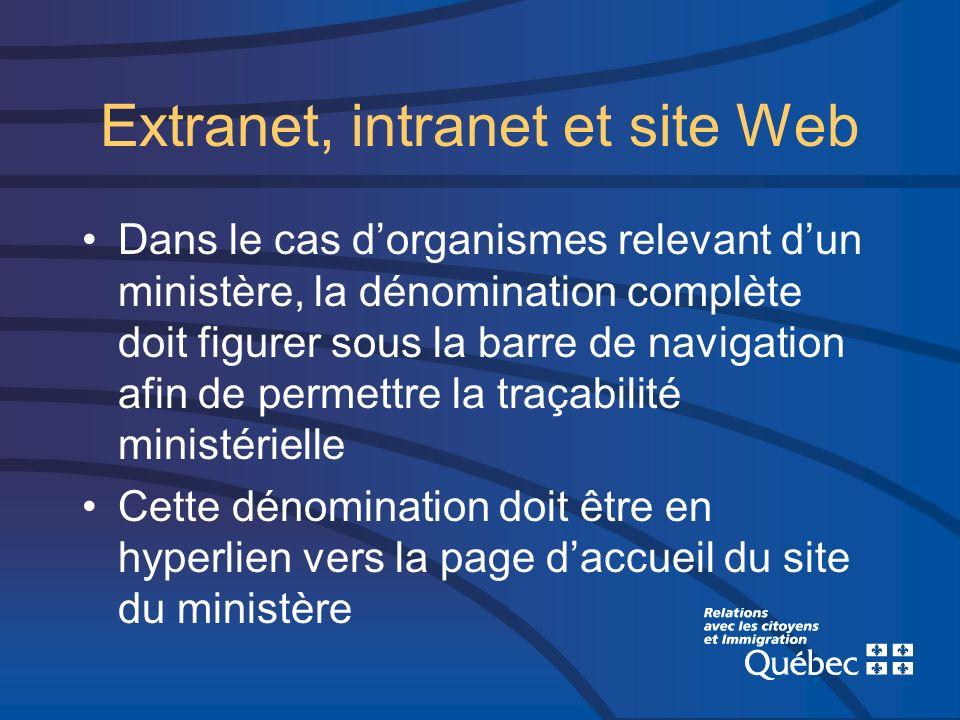 Extranet, intranet et site Web Dans le cas dorganismes relevant dun ministère, la dénomination complète doit figurer sous la barre de navigation afin