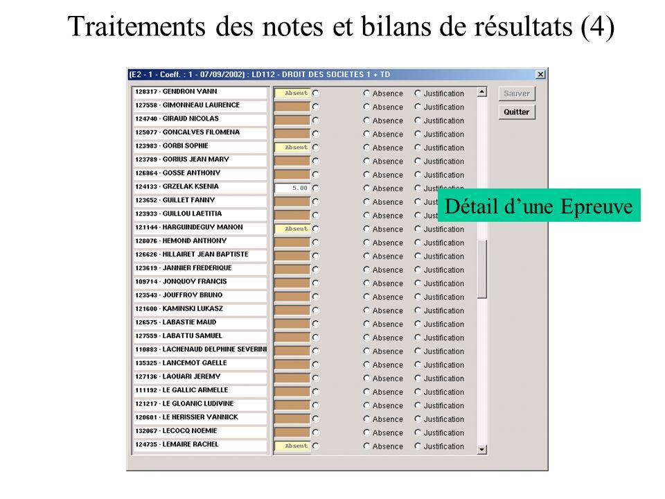Traitements des notes et bilans de résultats (4) Détail dune Epreuve