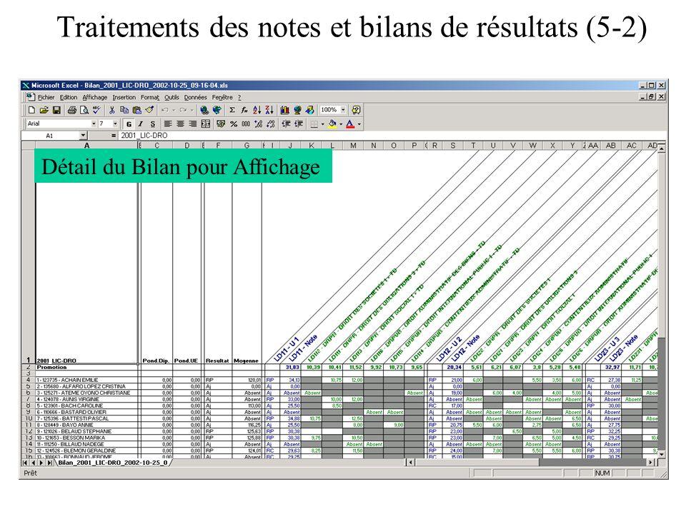 Traitements des notes et bilans de résultats (5-2) Détail du Bilan pour Affichage