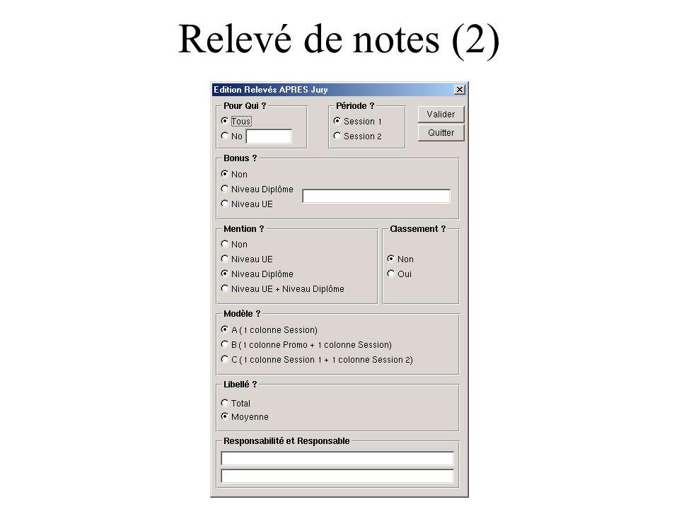 Relevé de notes (2)