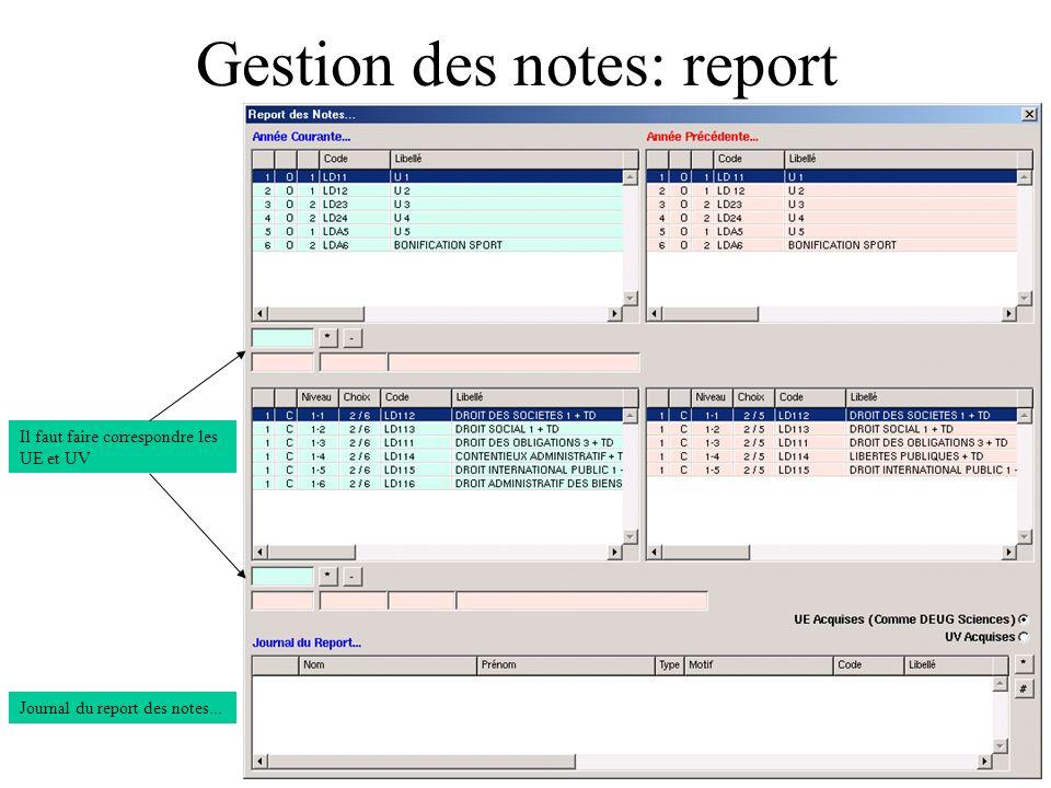 Gestion des notes: report Il faut faire correspondre les UE et UV Journal du report des notes...
