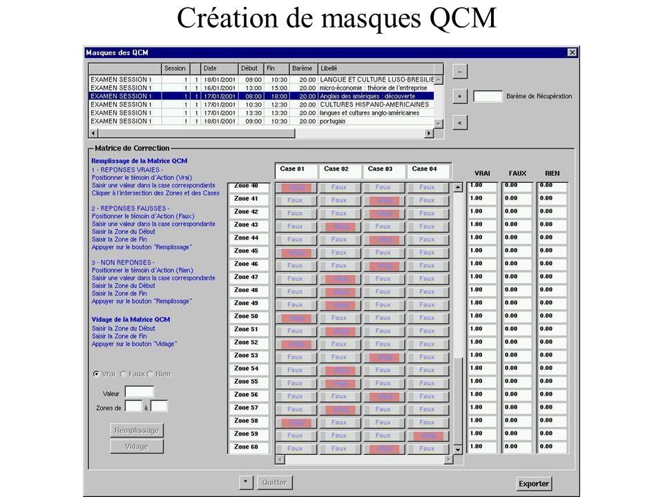 Création de masques QCM