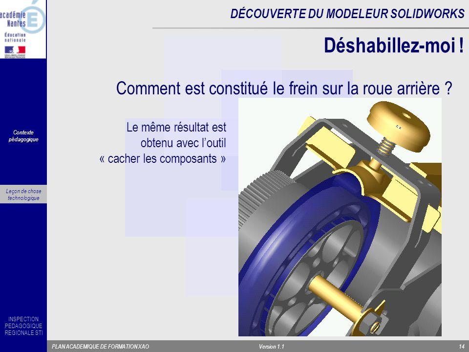 INSPECTION PEDAGOGIQUE REGIONALE STI PLAN ACADEMIQUE DE FORMATION XAOVersion 1.114 Comment est constitué le frein sur la roue arrière ? Déshabillez-mo