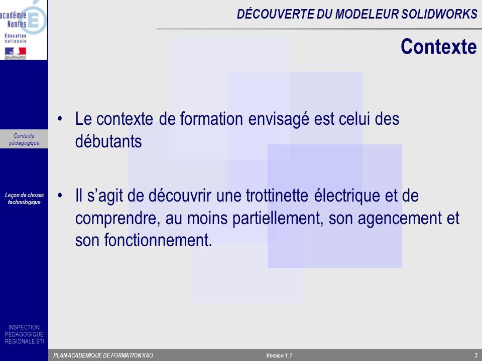 INSPECTION PEDAGOGIQUE REGIONALE STI PLAN ACADEMIQUE DE FORMATION XAOVersion 1.14 Faire apparaître la maquette .
