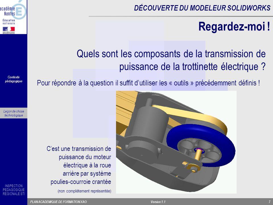 INSPECTION PEDAGOGIQUE REGIONALE STI PLAN ACADEMIQUE DE FORMATION XAOVersion 1.17 Quels sont les composants de la transmission de puissance de la trot