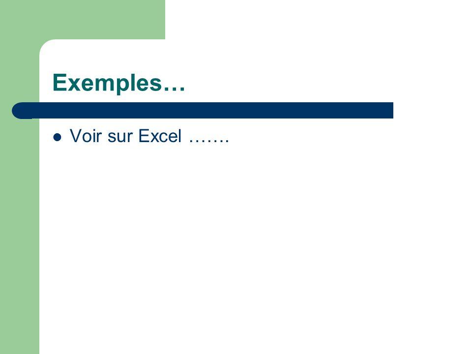Exemples… Voir sur Excel …….