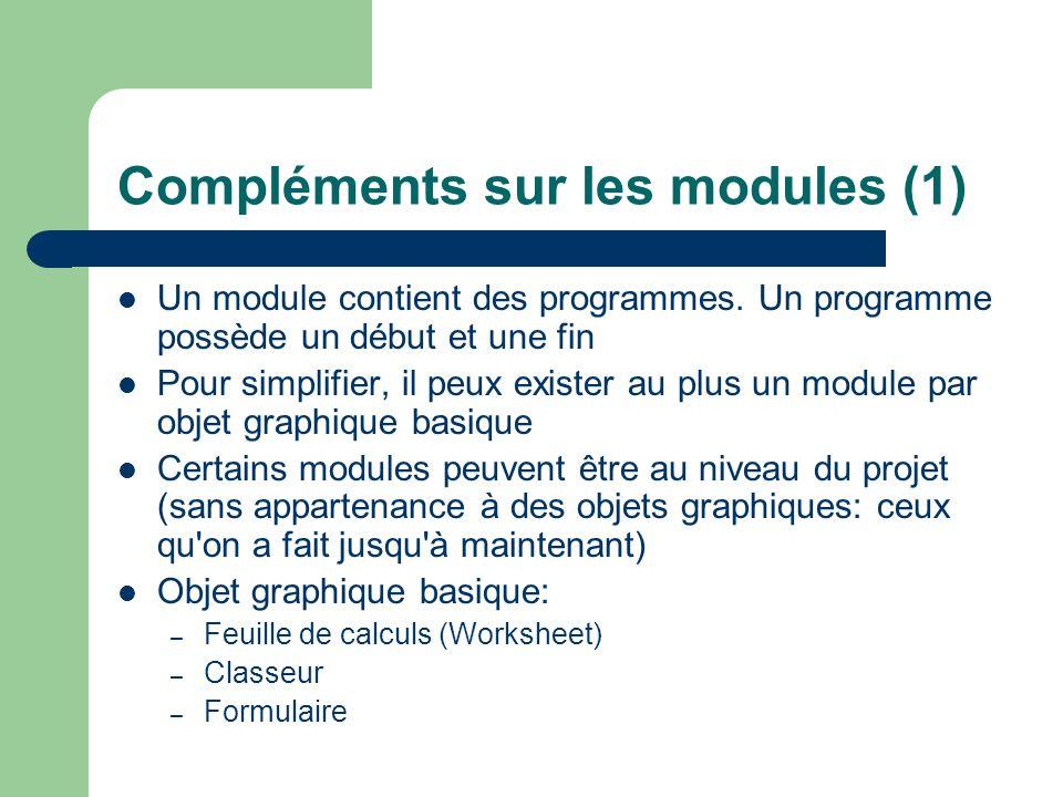 Compléments sur les modules (2) Chaque objet listé dans l explorateur de projet possède son propre module Tous les modules peuvent posséder plusieurs programmes Ce module est un module pour le projet Modules différents
