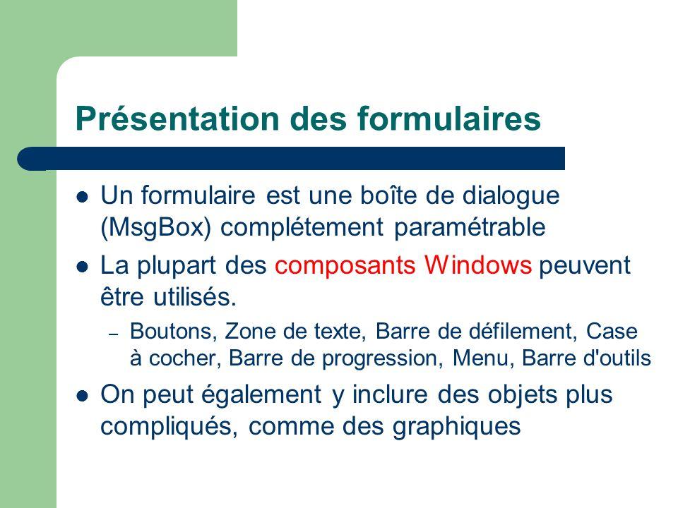 Présentation des formulaires Un formulaire est une boîte de dialogue (MsgBox) complétement paramétrable La plupart des composants Windows peuvent être utilisés.