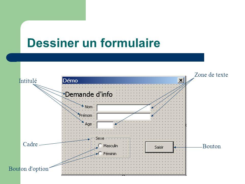 Dessiner un formulaire Intitulé Cadre Bouton d option Zone de texte Bouton