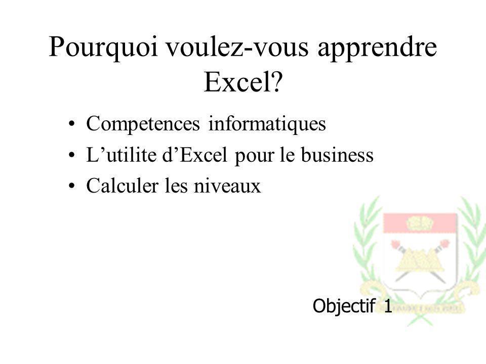Pourquoi voulez-vous apprendre Excel? Competences informatiques Lutilite dExcel pour le business Calculer les niveaux Objectif 1