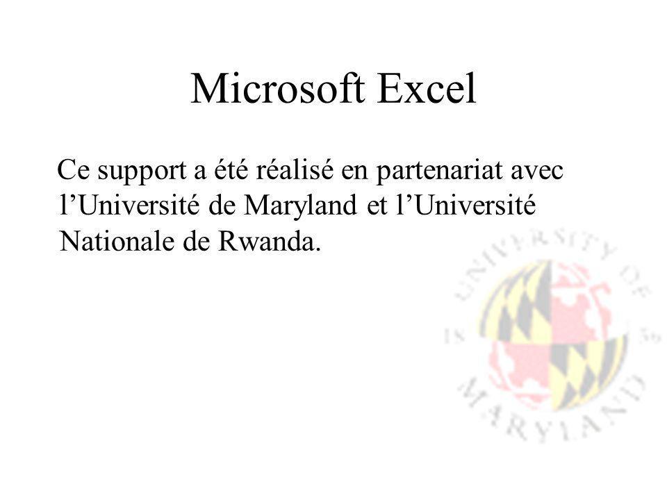 Microsoft Excel Ce support a été réalisé en partenariat avec lUniversité de Maryland et lUniversité Nationale de Rwanda.