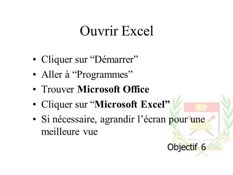 Ouvrir Excel Cliquer sur Démarrer Aller à Programmes Trouver Microsoft Office Cliquer sur Microsoft Excel Si nécessaire, agrandir lécran pour une meil