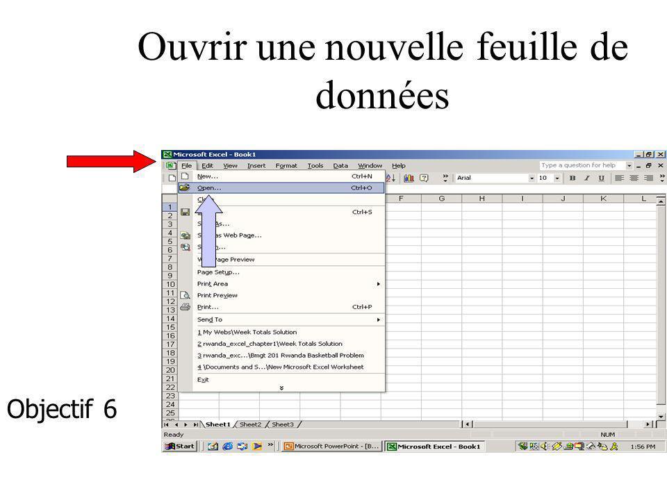 Ouvrir une nouvelle feuille de données Objectif 6