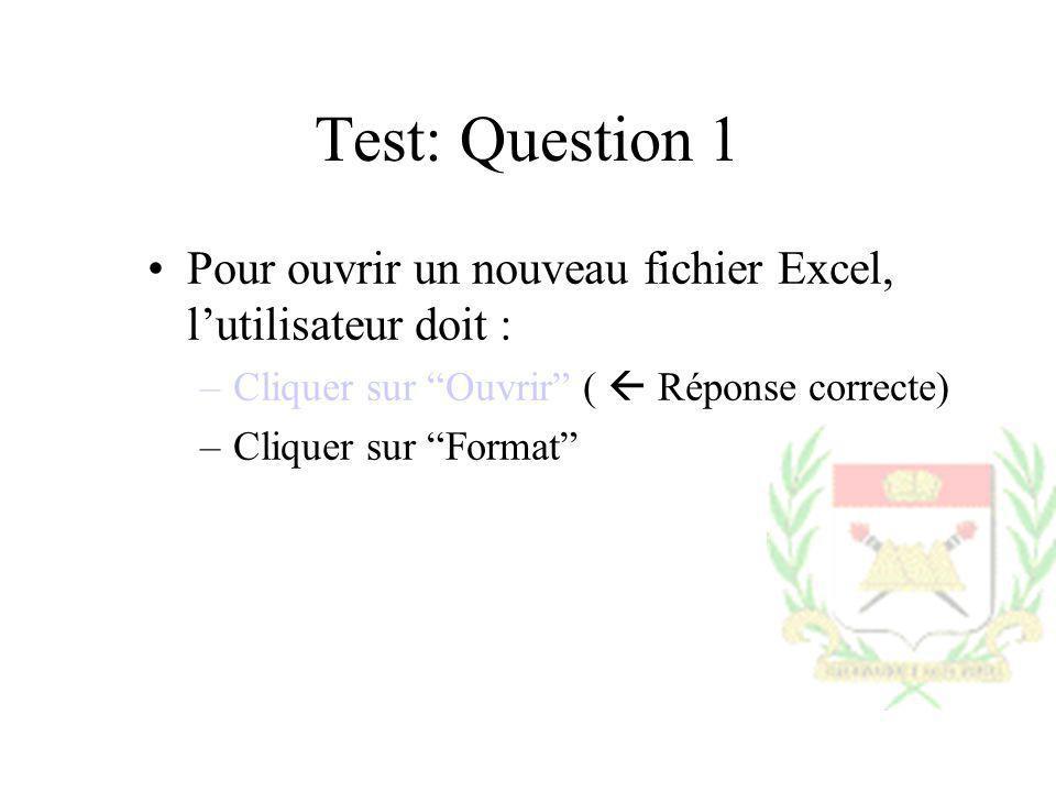 Test: Question 1 Pour ouvrir un nouveau fichier Excel, lutilisateur doit : –Cliquer sur Ouvrir ( Réponse correcte) –Cliquer sur Format