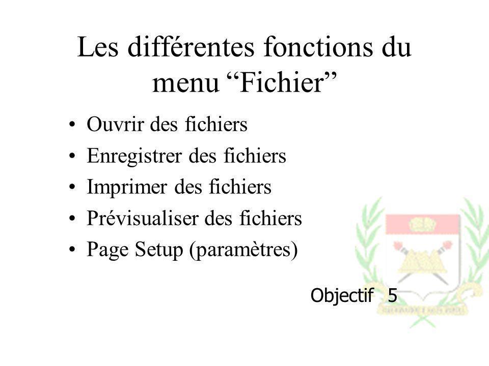 Les différentes fonctions du menu Fichier Ouvrir des fichiers Enregistrer des fichiers Imprimer des fichiers Prévisualiser des fichiers Page Setup (pa