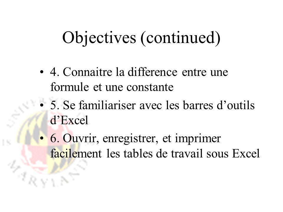 Objectives (continued) 4. Connaitre la difference entre une formule et une constante 5. Se familiariser avec les barres doutils dExcel 6. Ouvrir, enre