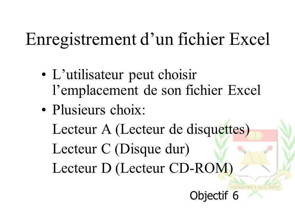 Enregistrement dun fichier Excel Lutilisateur peut choisir lemplacement de son fichier Excel Plusieurs choix: Lecteur A (Lecteur de disquettes) Lecteu