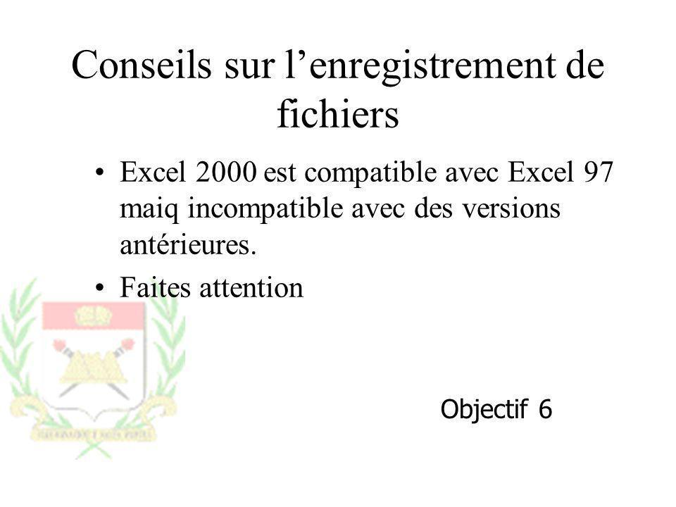 Conseils sur lenregistrement de fichiers Excel 2000 est compatible avec Excel 97 maiq incompatible avec des versions antérieures. Faites attention Obj