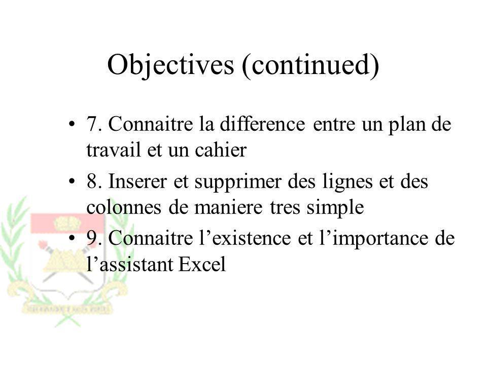 Objectives (continued) 7. Connaitre la difference entre un plan de travail et un cahier 8. Inserer et supprimer des lignes et des colonnes de maniere