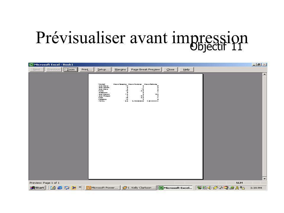 Prévisualiser avant impression Objectif 11