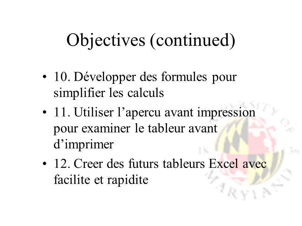 Objectives (continued) 10. Développer des formules pour simplifier les calculs 11. Utiliser lapercu avant impression pour examiner le tableur avant di