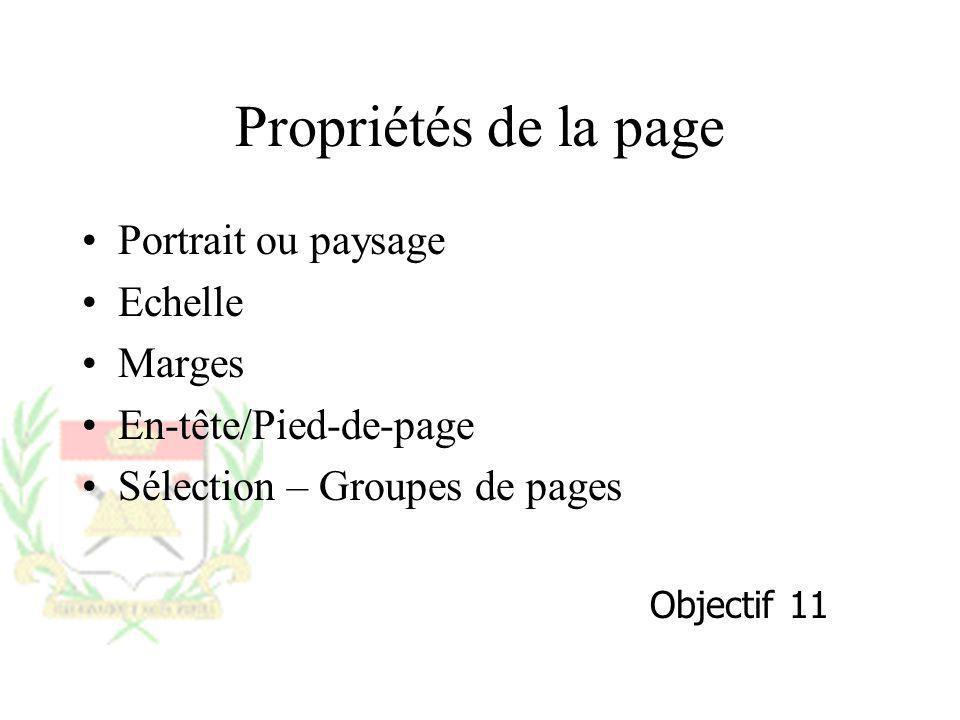 Propriétés de la page Portrait ou paysage Echelle Marges En-tête/Pied-de-page Sélection – Groupes de pages Objectif 11