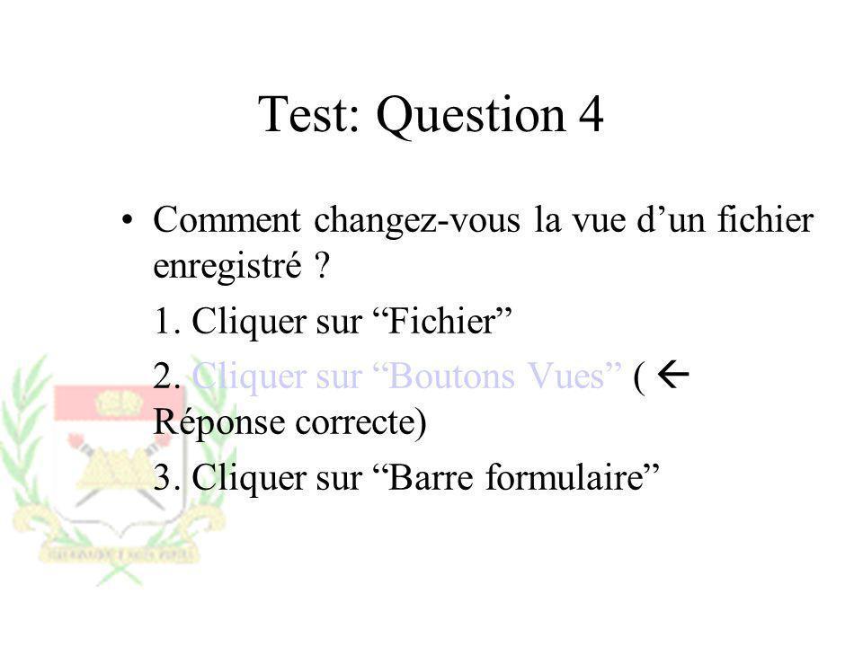 Test: Question 4 Comment changez-vous la vue dun fichier enregistré ? 1. Cliquer sur Fichier 2. Cliquer sur Boutons Vues ( Réponse correcte) 3. Clique