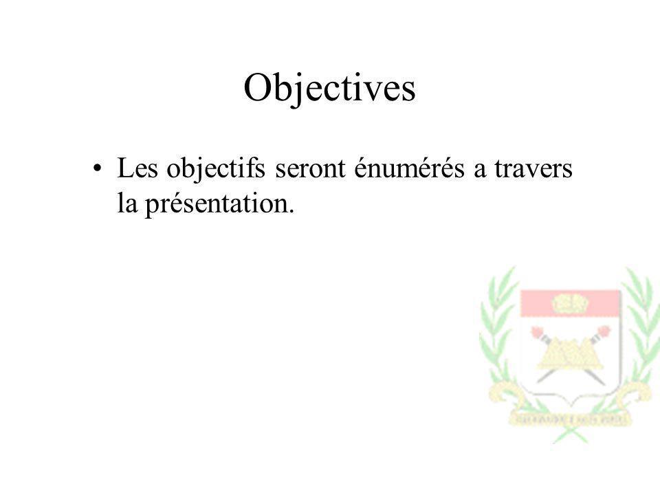 Objectives Les objectifs seront énumérés a travers la présentation.