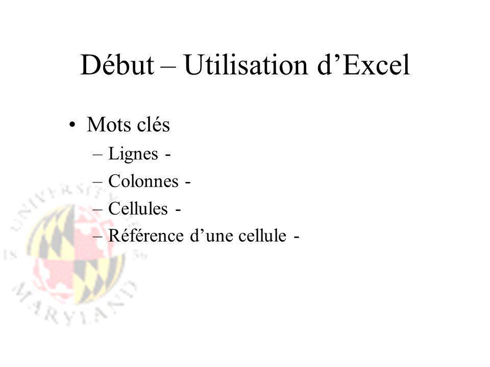 Début – Utilisation dExcel Mots clés –Lignes - –Colonnes - –Cellules - –Référence dune cellule -