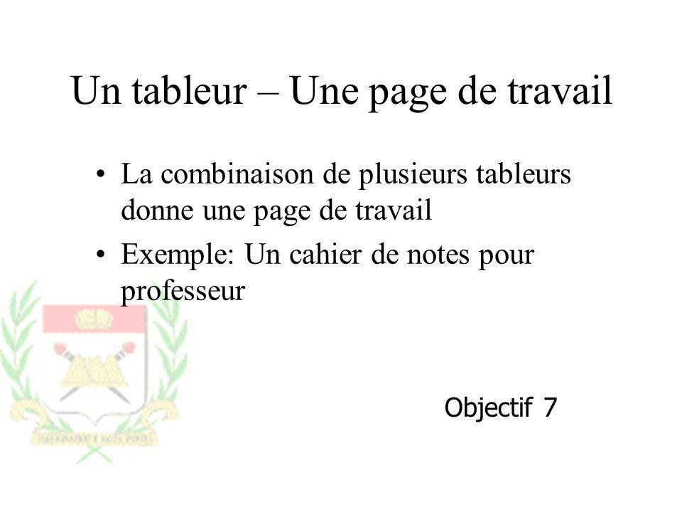 Un tableur – Une page de travail La combinaison de plusieurs tableurs donne une page de travail Exemple: Un cahier de notes pour professeur Objectif 7