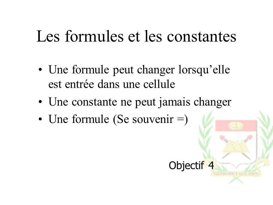 Les formules et les constantes Une formule peut changer lorsquelle est entrée dans une cellule Une constante ne peut jamais changer Une formule (Se so