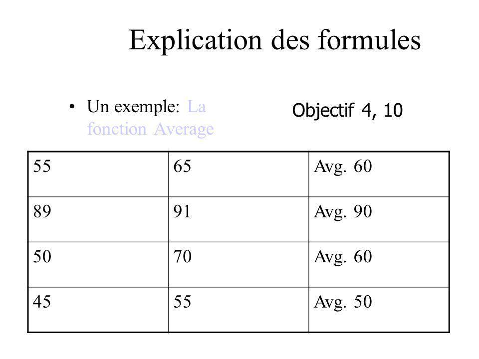 Explication des formules Un exemple: La fonction Average Objectif 4, 10 5565Avg. 60 8991Avg. 90 5070Avg. 60 4555Avg. 50