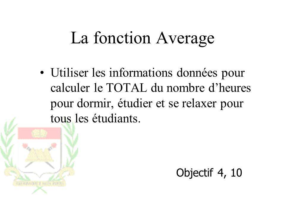 La fonction Average Utiliser les informations données pour calculer le TOTAL du nombre dheures pour dormir, étudier et se relaxer pour tous les étudia