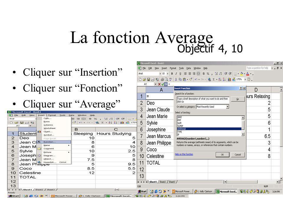 La fonction Average Cliquer sur Insertion Cliquer sur Fonction Cliquer sur Average Objectif 4, 10