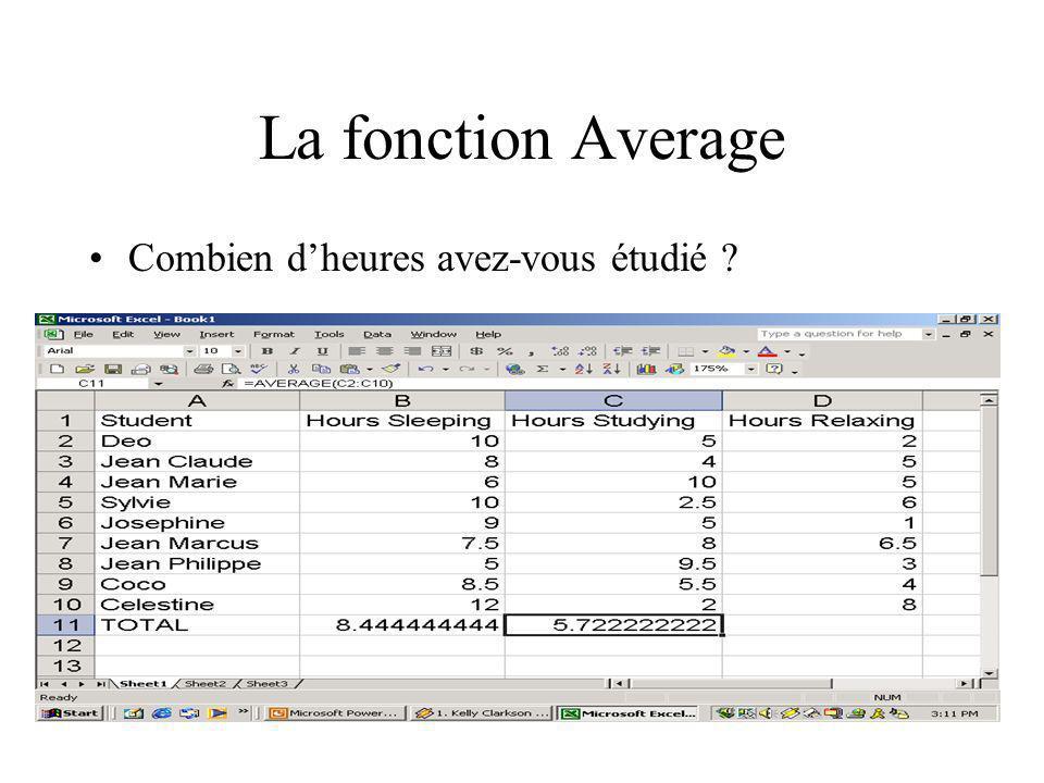 La fonction Average Combien dheures avez-vous étudié ?