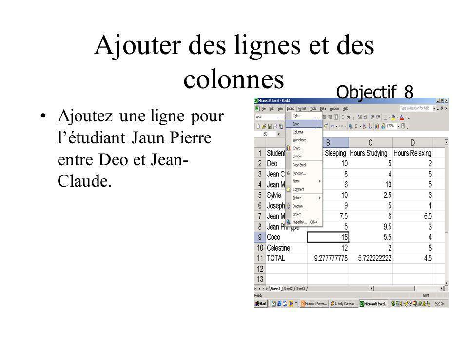 Ajouter des lignes et des colonnes Ajoutez une ligne pour létudiant Jaun Pierre entre Deo et Jean- Claude. Objectif 8