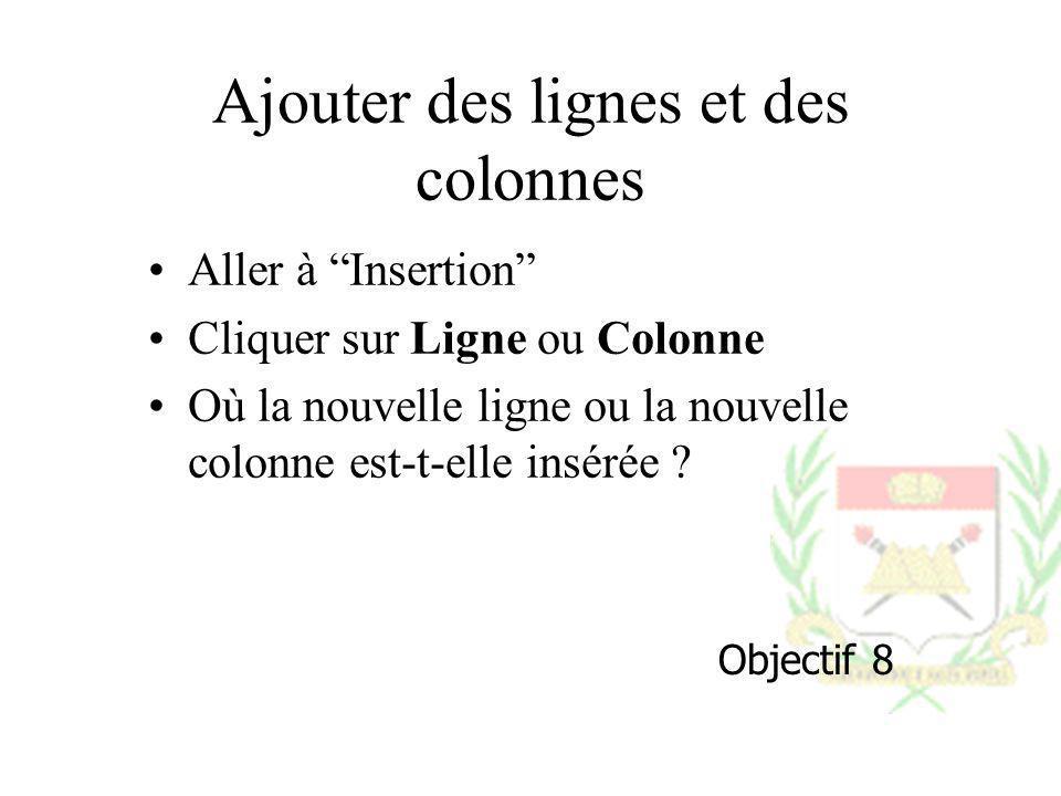 Ajouter des lignes et des colonnes Aller à Insertion Cliquer sur Ligne ou Colonne Où la nouvelle ligne ou la nouvelle colonne est-t-elle insérée ? Obj