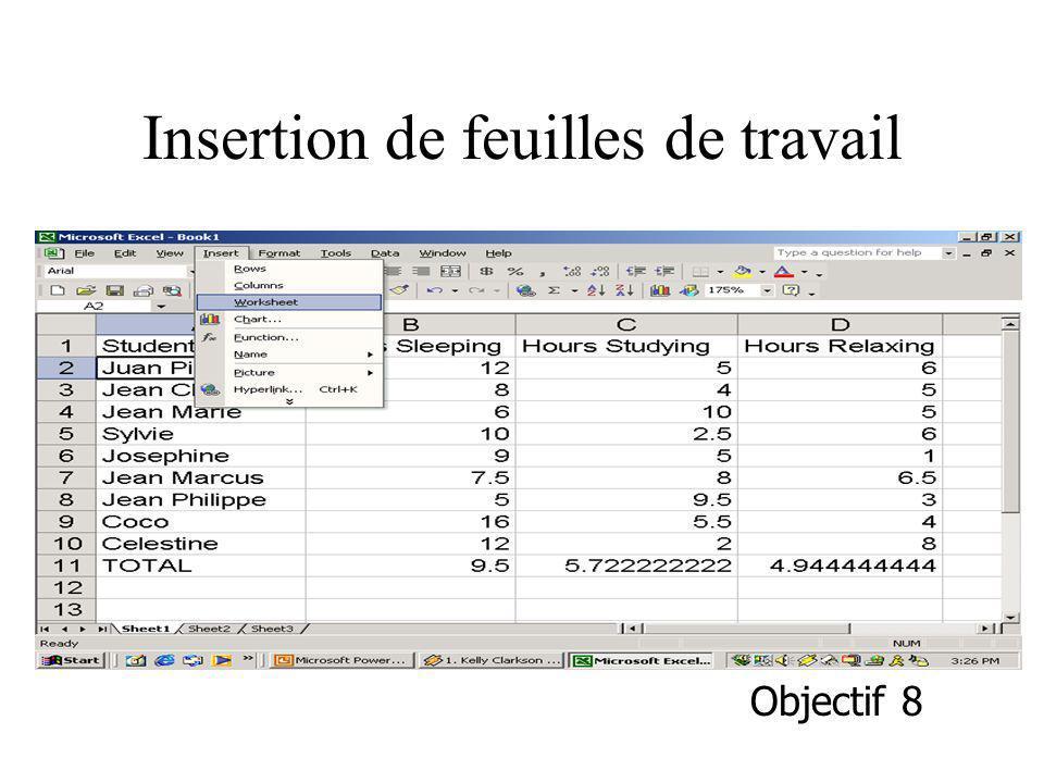Insertion de feuilles de travail Objectif 8