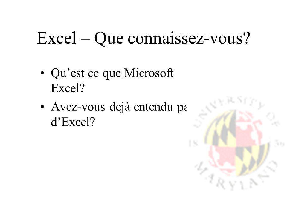 Excel – Que connaissez-vous? Quest ce que Microsoft Excel? Avez-vous dejà entendu parlé dExcel?