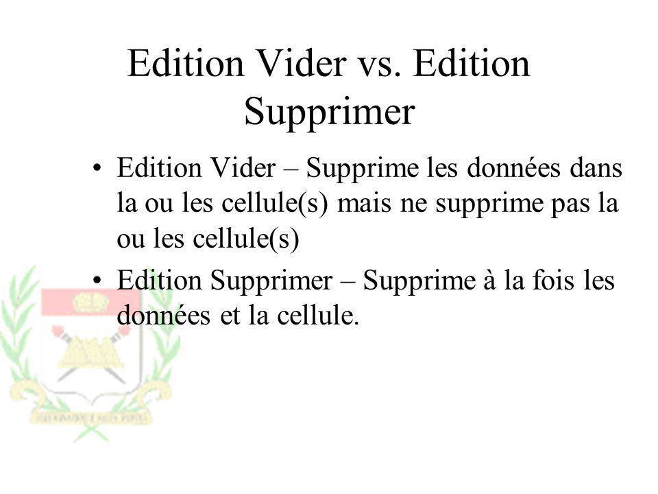 Edition Vider vs. Edition Supprimer Edition Vider – Supprime les données dans la ou les cellule(s) mais ne supprime pas la ou les cellule(s) Edition S