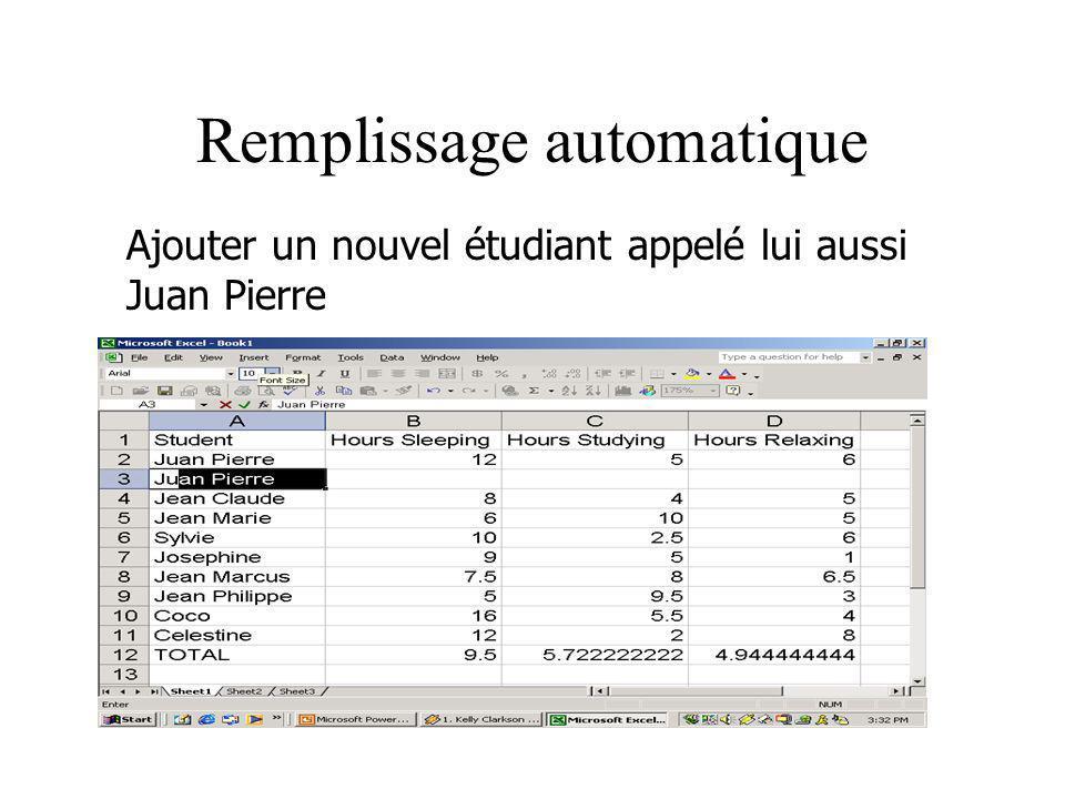 Remplissage automatique Ajouter un nouvel étudiant appelé lui aussi Juan Pierre