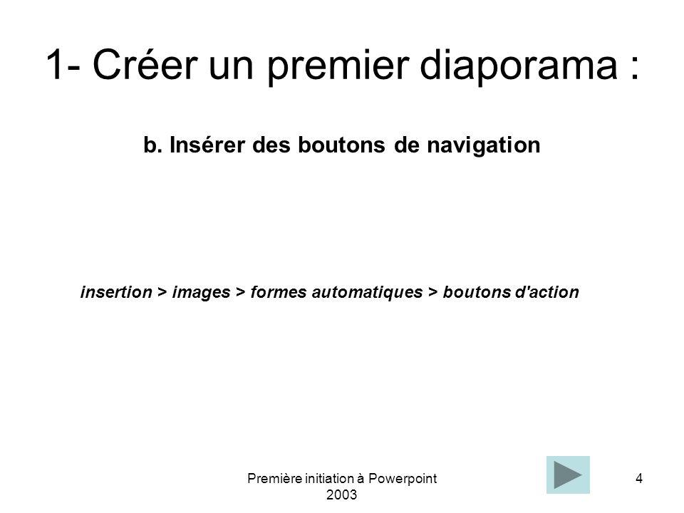Première initiation à Powerpoint 2003 4 1- Créer un premier diaporama : b. Insérer des boutons de navigation insertion > images > formes automatiques